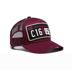 Burgundy / Black Patch Trucker Cap