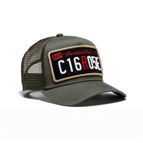 Olive / Black Patch Trucker Cap