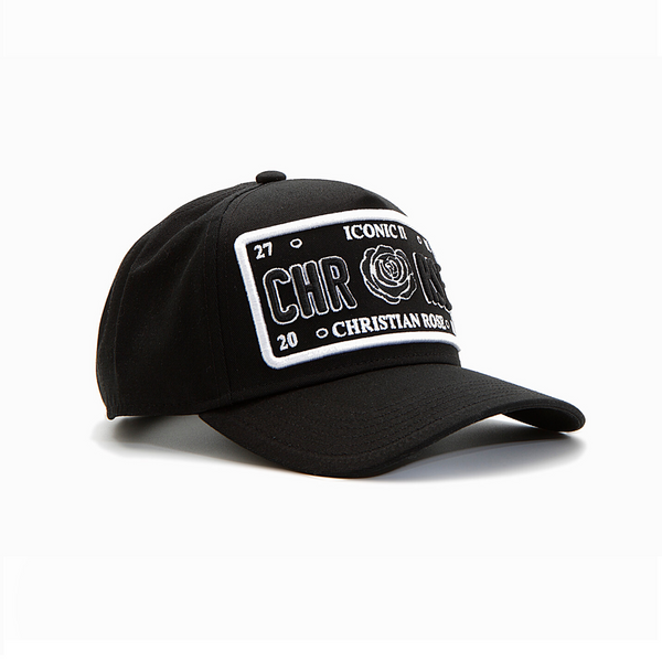 Black/White Outline Trucker Cap