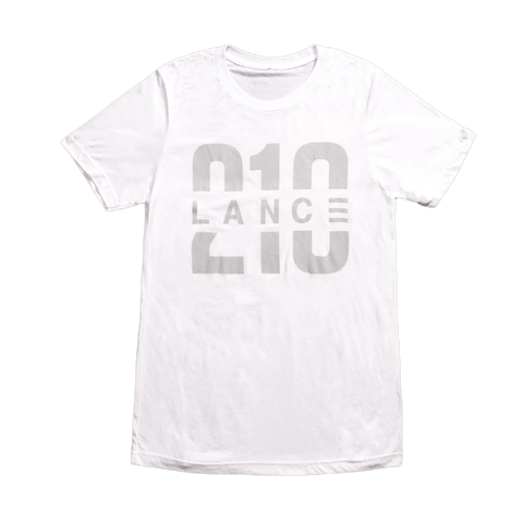 210 T-Shirt (White/Silver)  Lance Stewart Official Lance210 Merch Store - Shop T-shirts, beanies, snapbacks, pop sockets, hoodies and more! As Seen On YouTube, Vine, Instagram, Facebook and Twitter