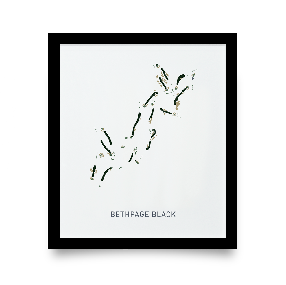 Golf Art - Bethpage Black Giclée Print (Black Wood Frame)