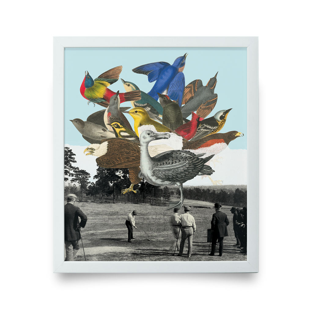 Golf Art - Birdie Ball Giclée Print (White Wood Frame)