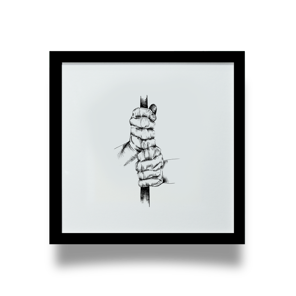 Golf Art - Ten Finger Giclée Print (Black Wood Frame)