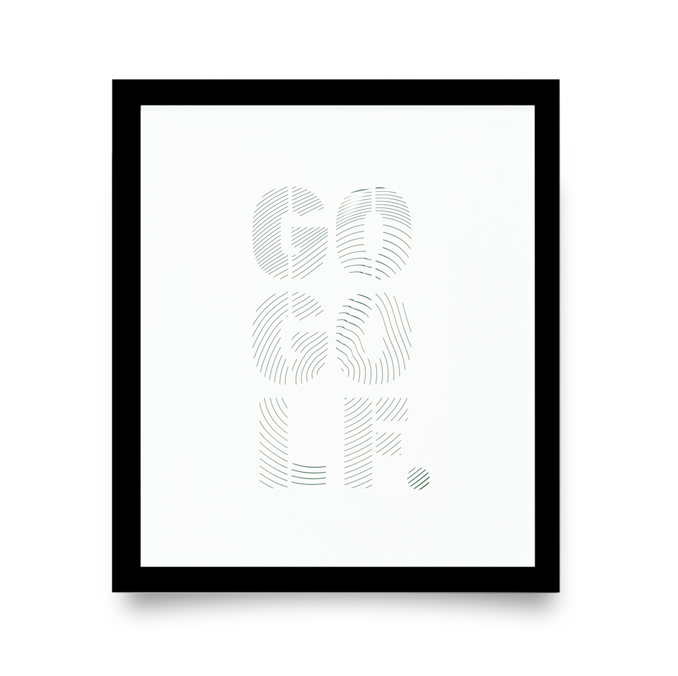 Golf Art - Go Golf Giclée Print (Black Wood Frame)