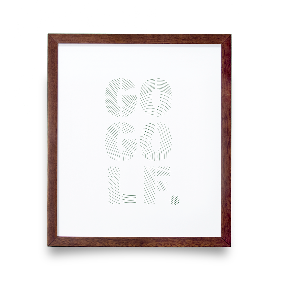 Golf Art - Go Golf Giclée Print (Walnut Wood Frame)