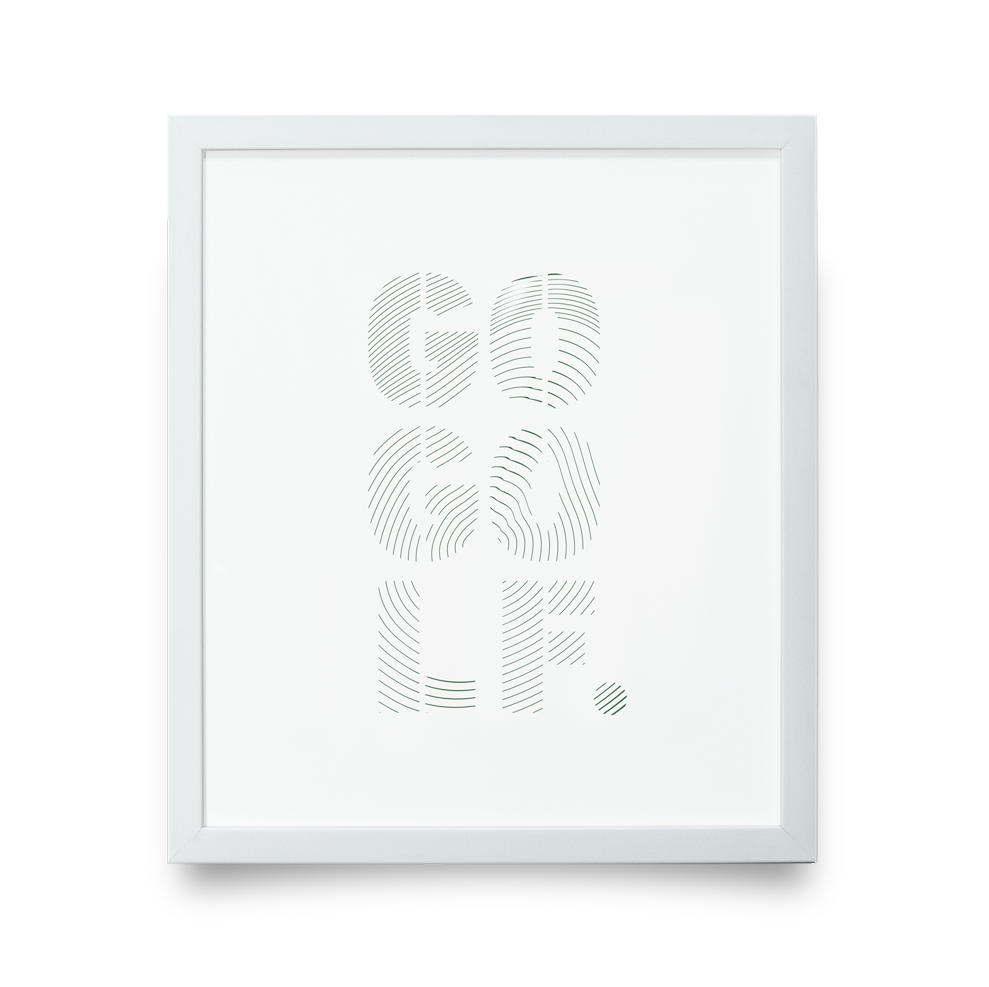 Golf Art - Go Golf Giclée Print (White Wood Frame)