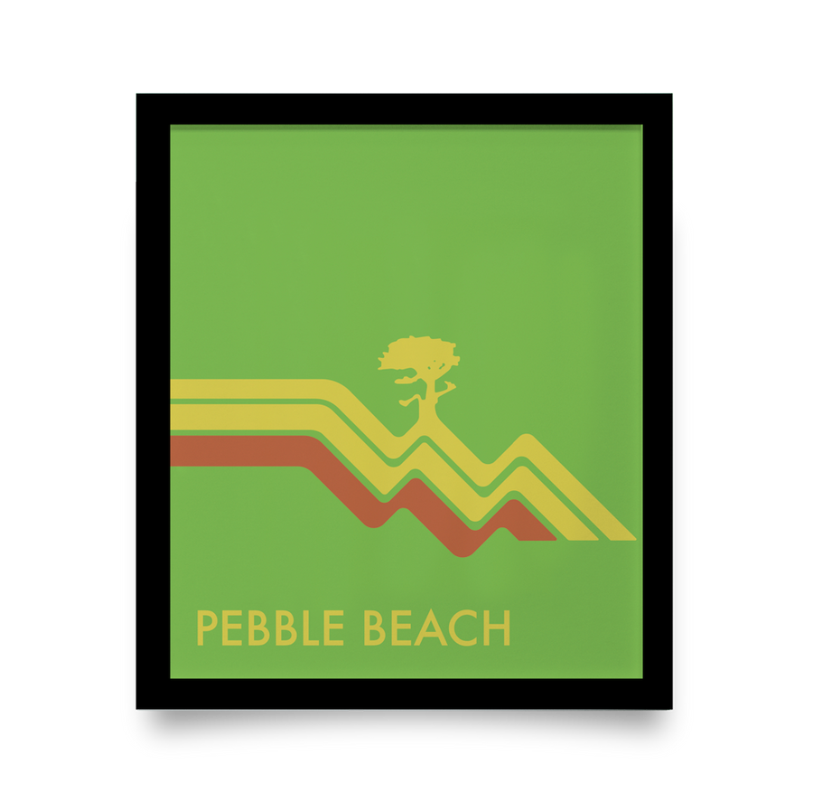 Golf Art - Pebble Beach Waves Green Giclée Print (No Frame)