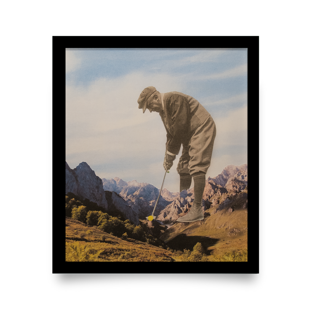 Golf Art - Mind Over Matter Giclée Print (Black Wood Frame)
