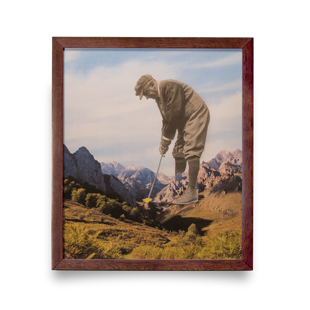 Golf Art - Mind Over Matter Giclée Print (Walnut Wood Frame)