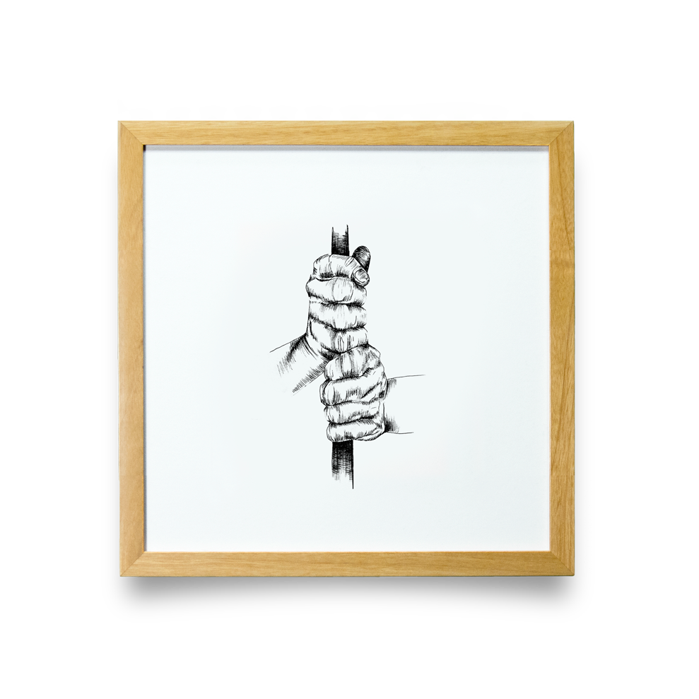 Golf Art - Ten Finger Giclée Print (Natural Wood Frame)