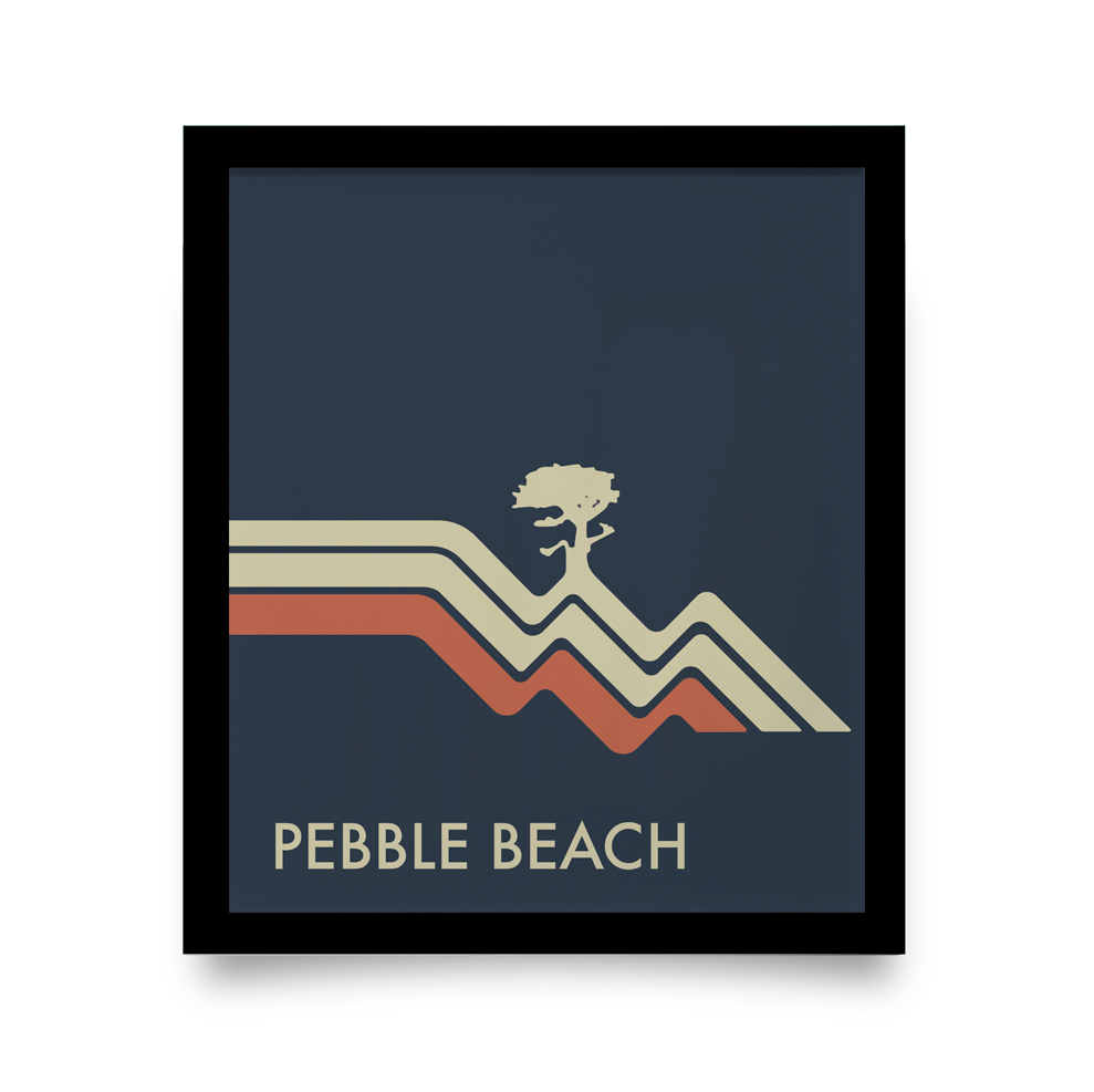 Golf Art - Pebble Beach Waves Navy Giclée Print (Black Wood Frame)