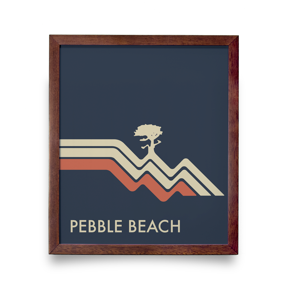 Golf Art - Pebble Beach Waves Navy Giclée Print (Walnut Wood Frame)