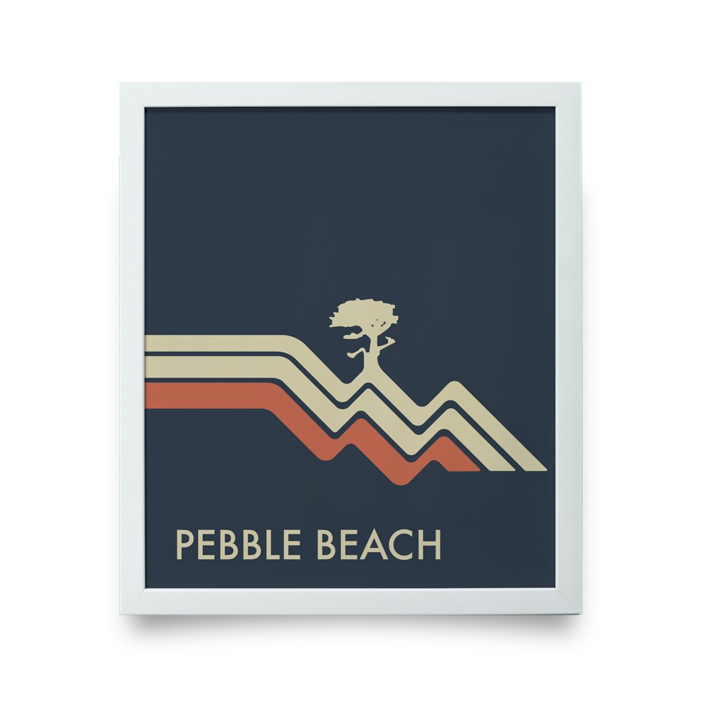 Golf Art - Pebble Beach Waves Navy Giclée Print (White Wood Frame)