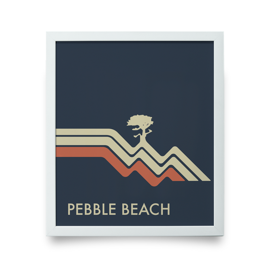 Golf Art - Pebble Beach Waves Navy Giclée Print (No Frame)