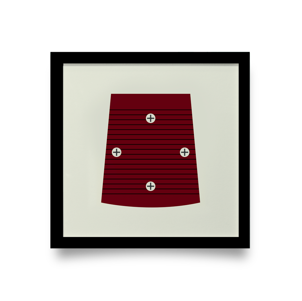Golf Art - On The Screws Red Giclée Print (Black Wood Frame)