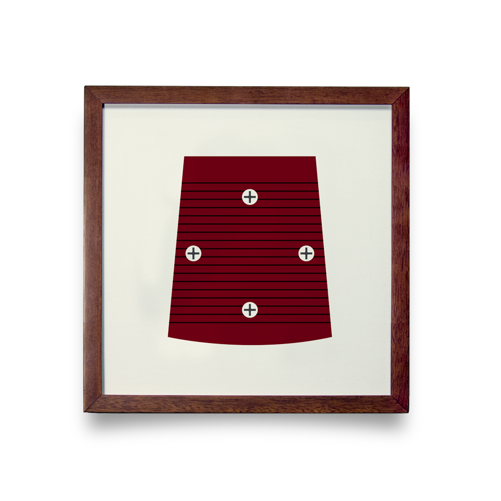 Golf Art - On The Screws Red Giclée Print (Walnut Wood Frame)