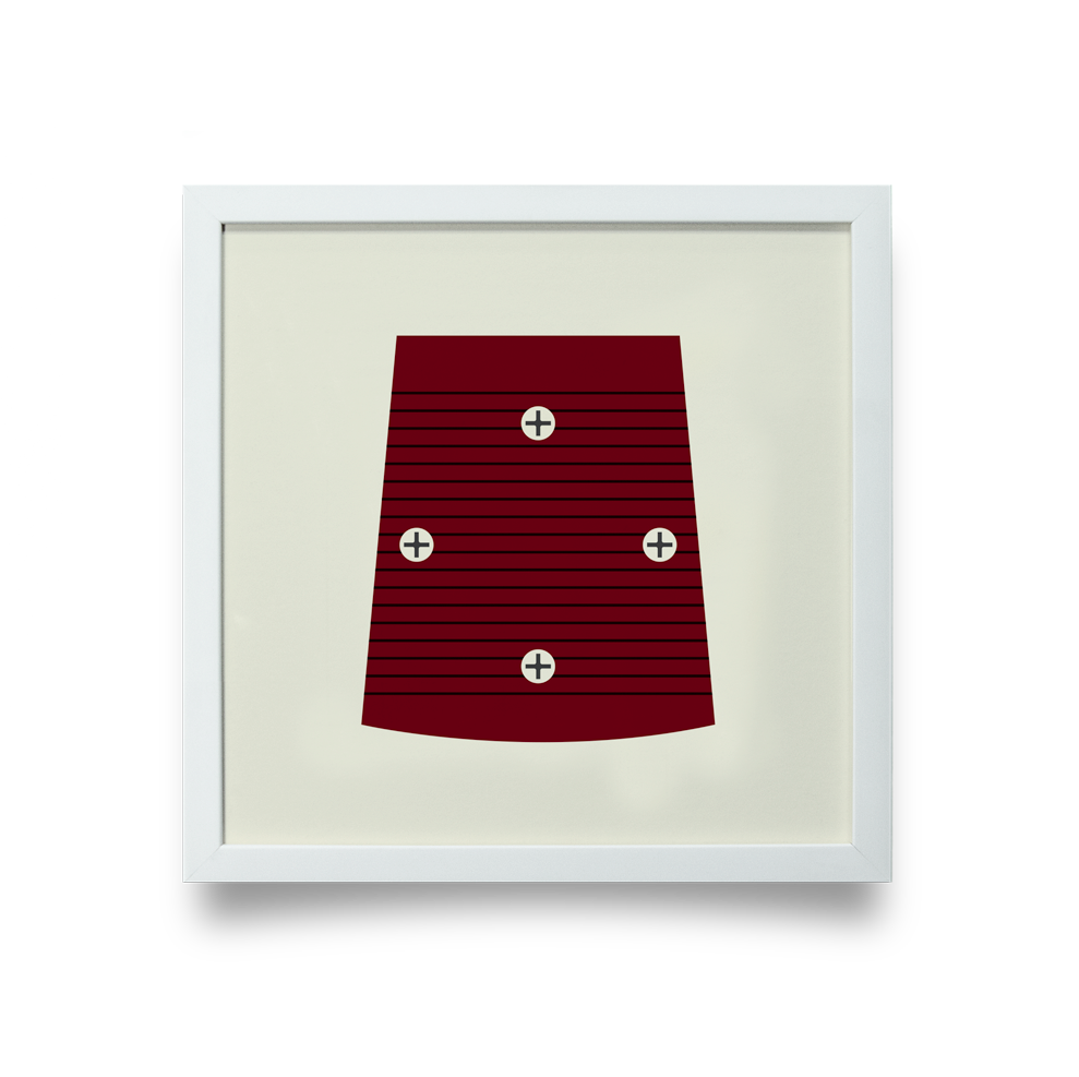 Golf Art - On The Screws Red Giclée Print (White Wood Frame)