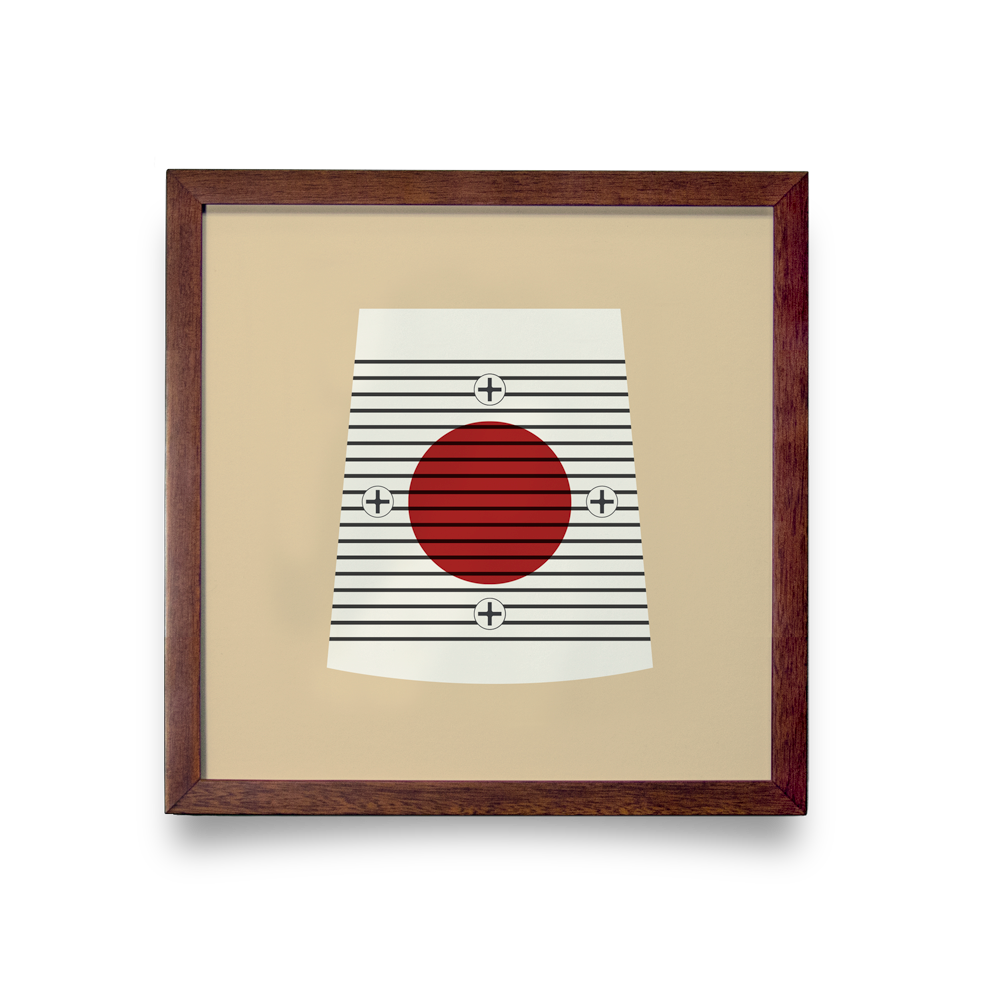 Golf Art - On The Screws Tan Giclée Print (Walnut Wood Frame)