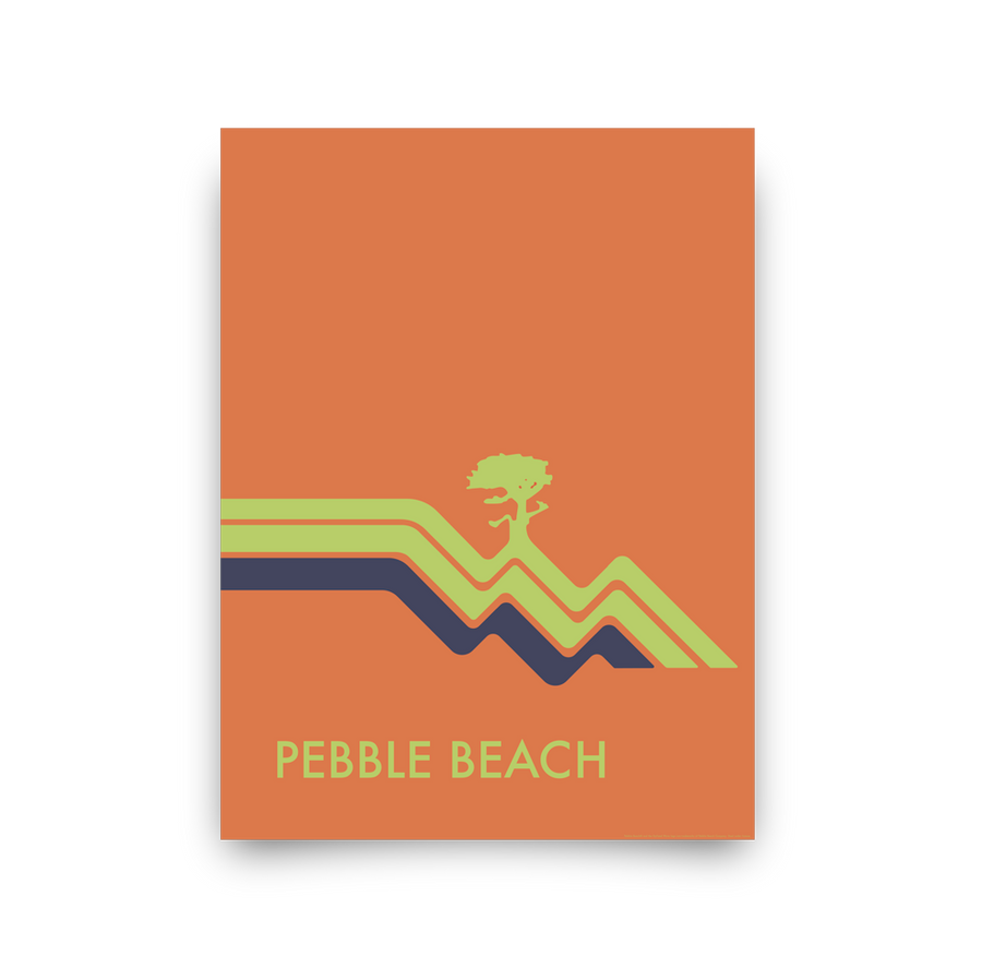 Golf Art - Pebble Beach Waves Orange Giclée Print (No Frame)