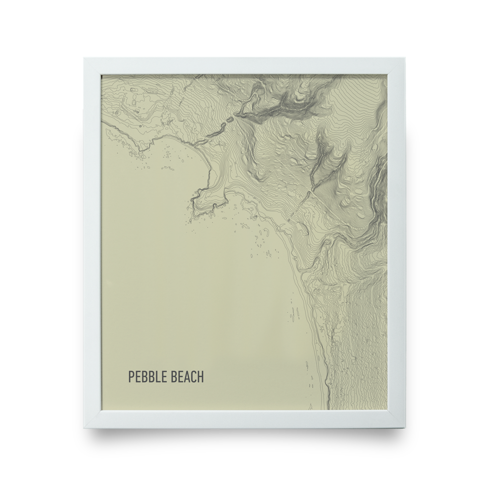Golf Art - Pebble Beach Topo Cream Giclée Print (White Wood Frame)