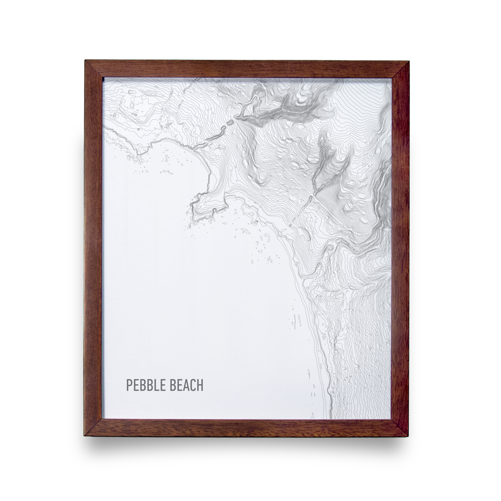 Golf Art - Pebble Beach Topo White Giclée Print (Walnut Wood Frame)