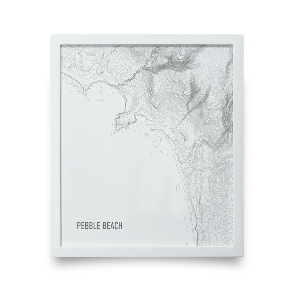 Golf Art - Pebble Beach Topo White Giclée Print (White Wood Frame)
