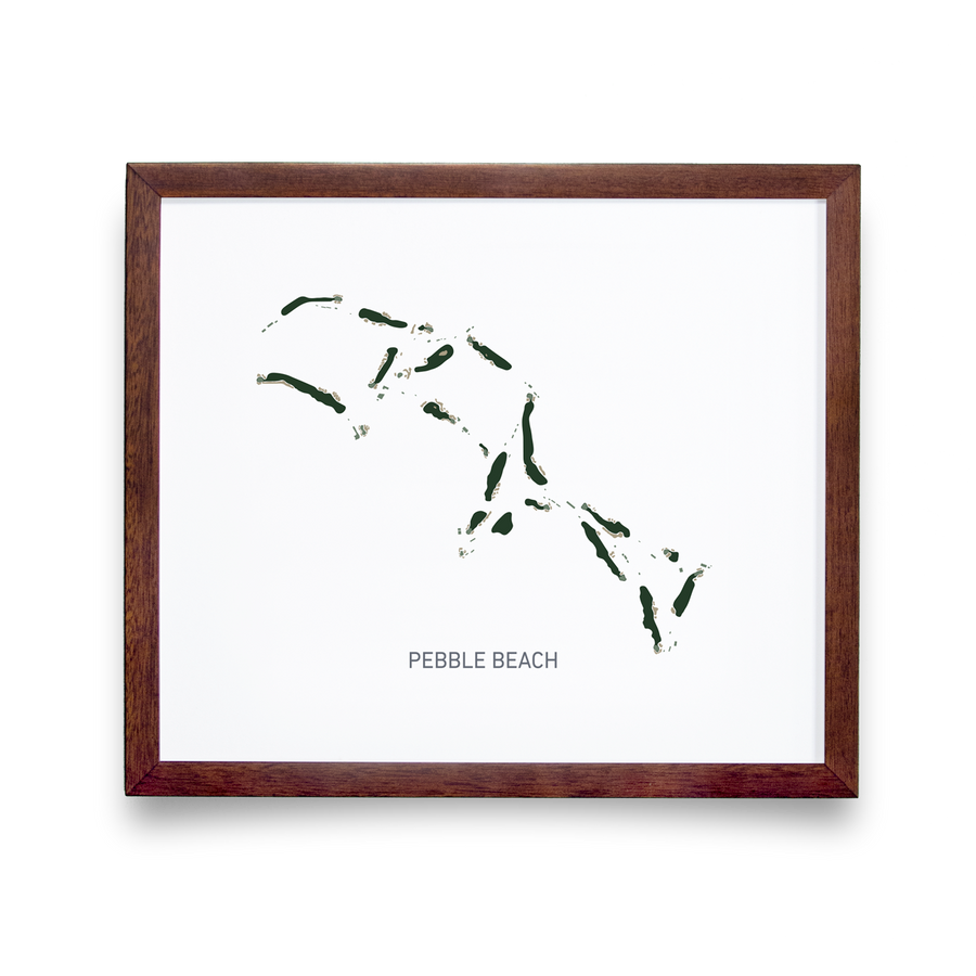 Golf Art - Pebble Beach White Giclée Print (No Frame)