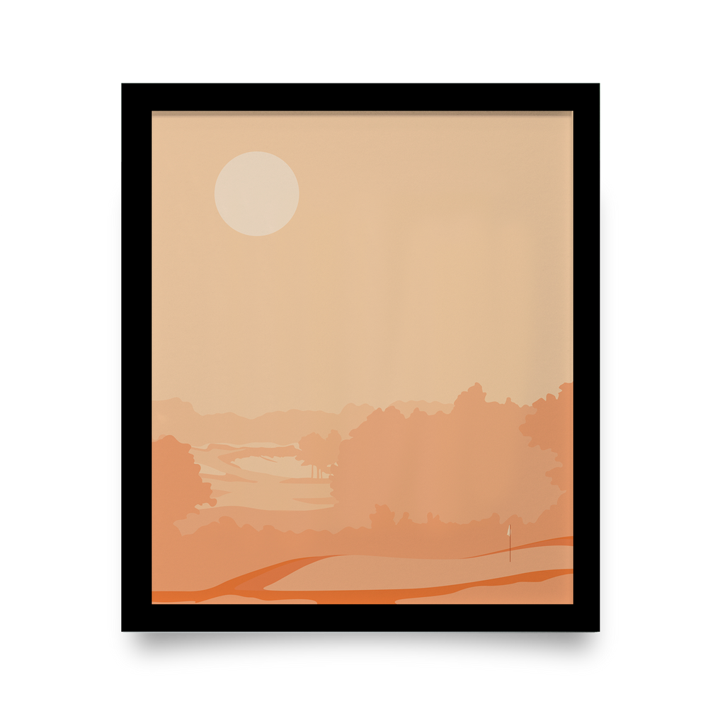 Golf Art - Rise + Shine Giclée Print (Black Wood Frame)
