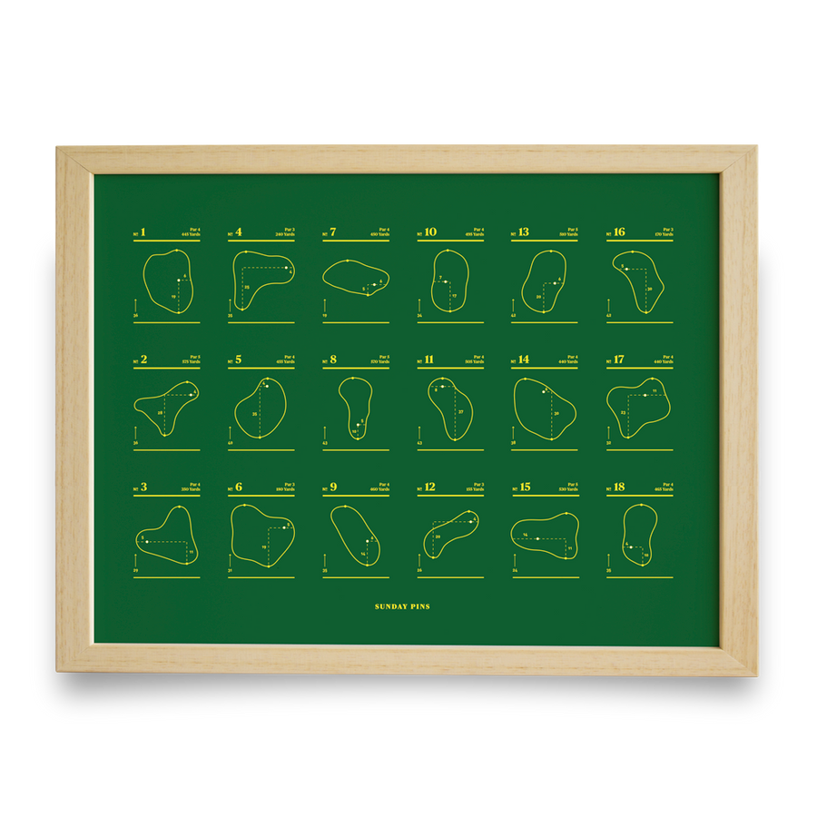 Golf Art - Sunday Pins Green Giclée Print (No Frame)