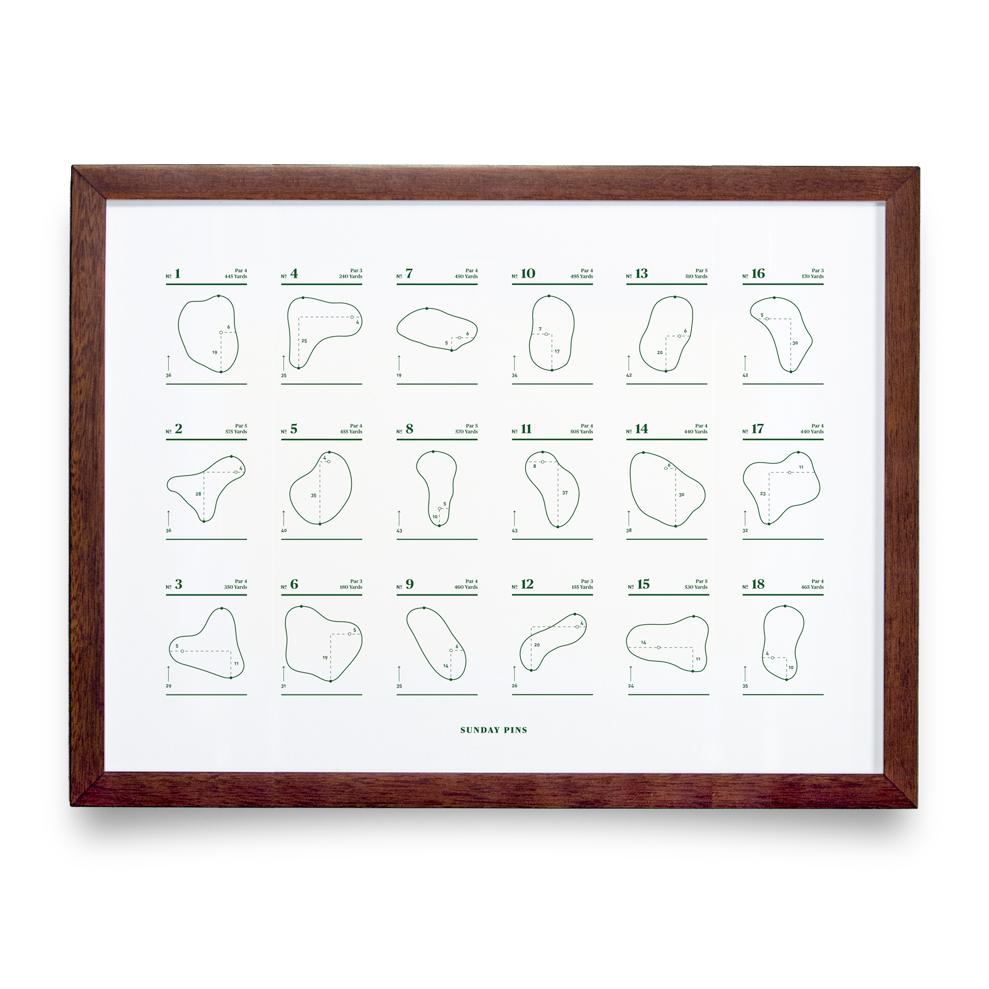 Golf Art - Sunday Pins White Giclée Print (Walnut Wood Frame)