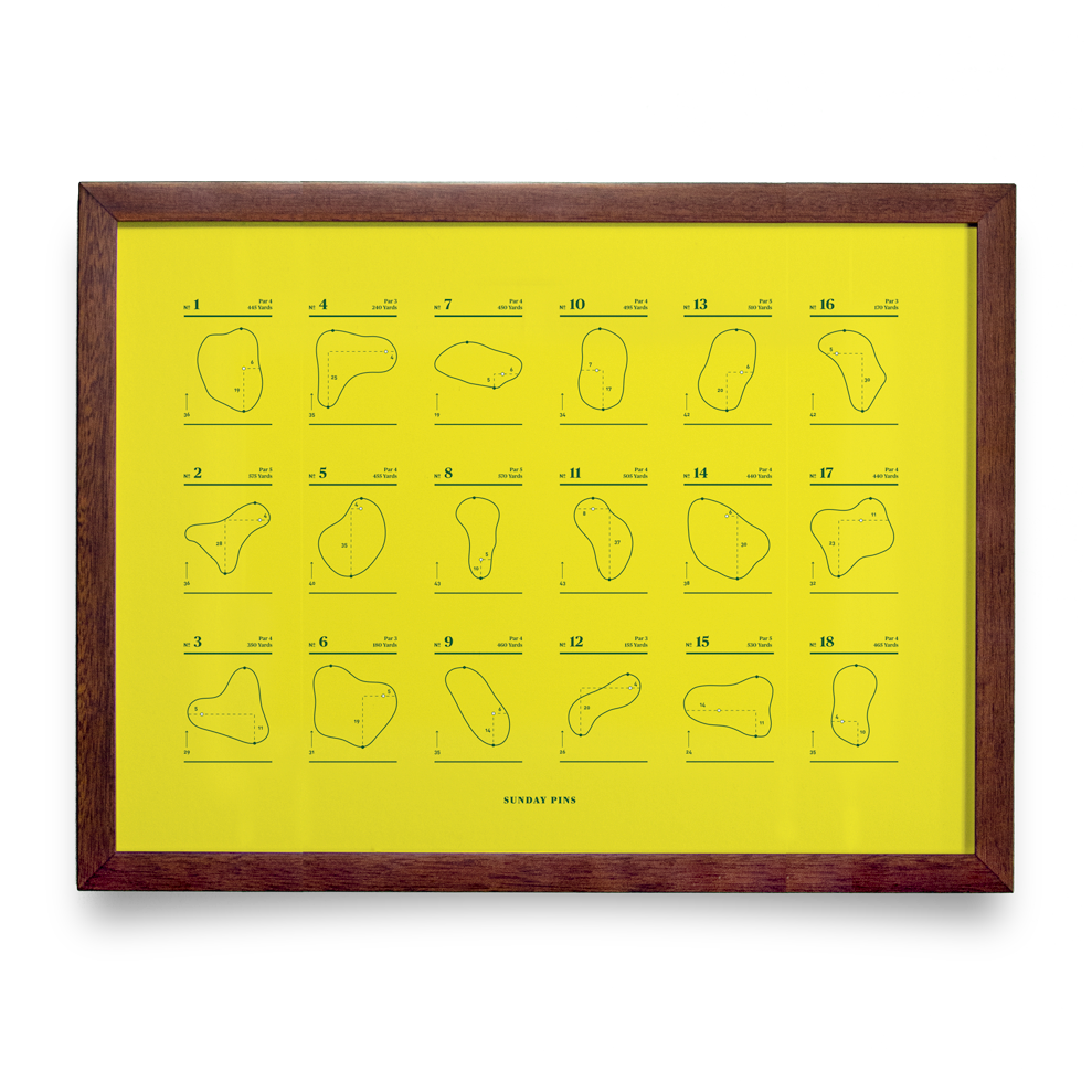 Golf Art - Sunday Pins Yellow Giclée Print (Walnut Wood Frame)