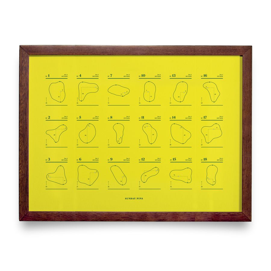 Golf Art - Sunday Pins Yellow Giclée Print (No Frame)