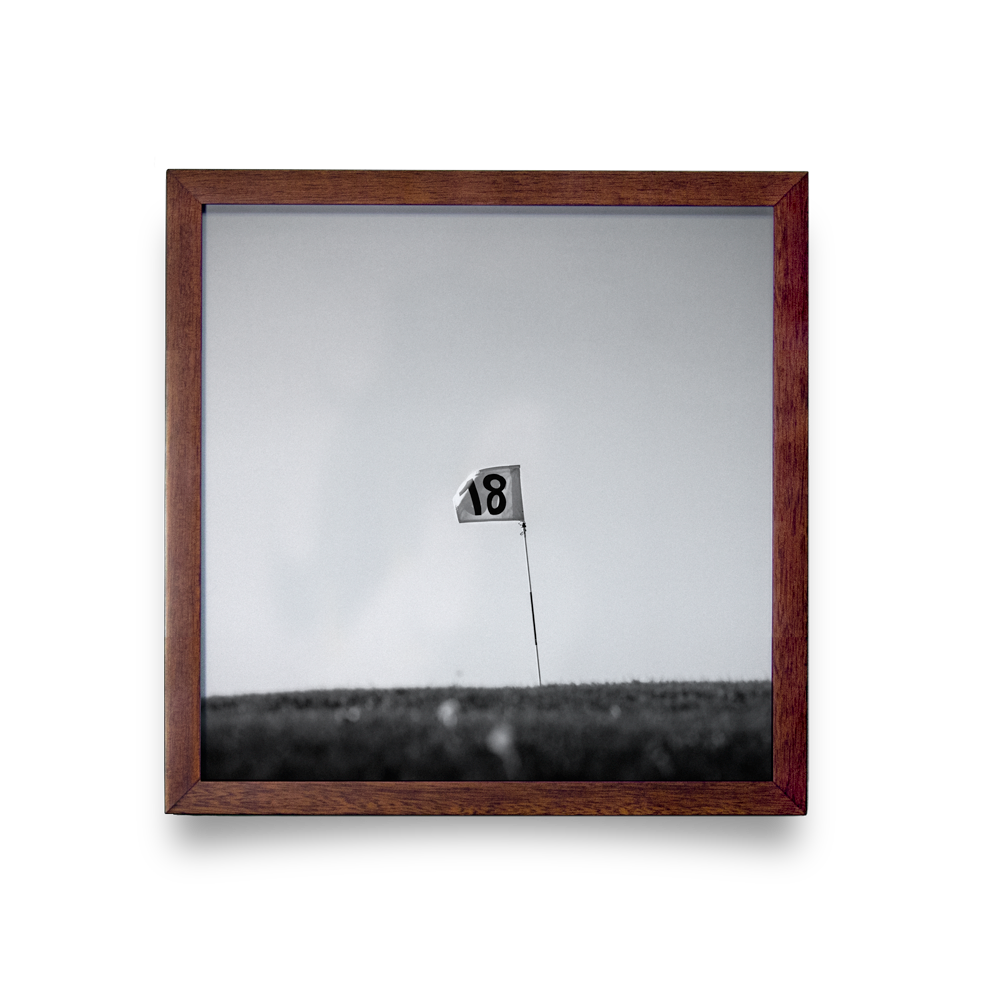 Golf Art - Finish Strong Giclée Print (Walnut Wood Frame)