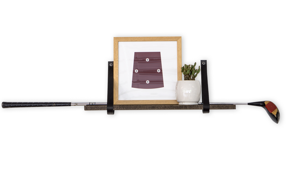 "24"" Leather Shelf Kit - Walnut Stained Wood - Black Leather Straps (Staged)"