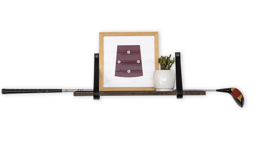 "24"" Leather Shelf Kit - Walnut Stained Wood - Black Leather Straps"