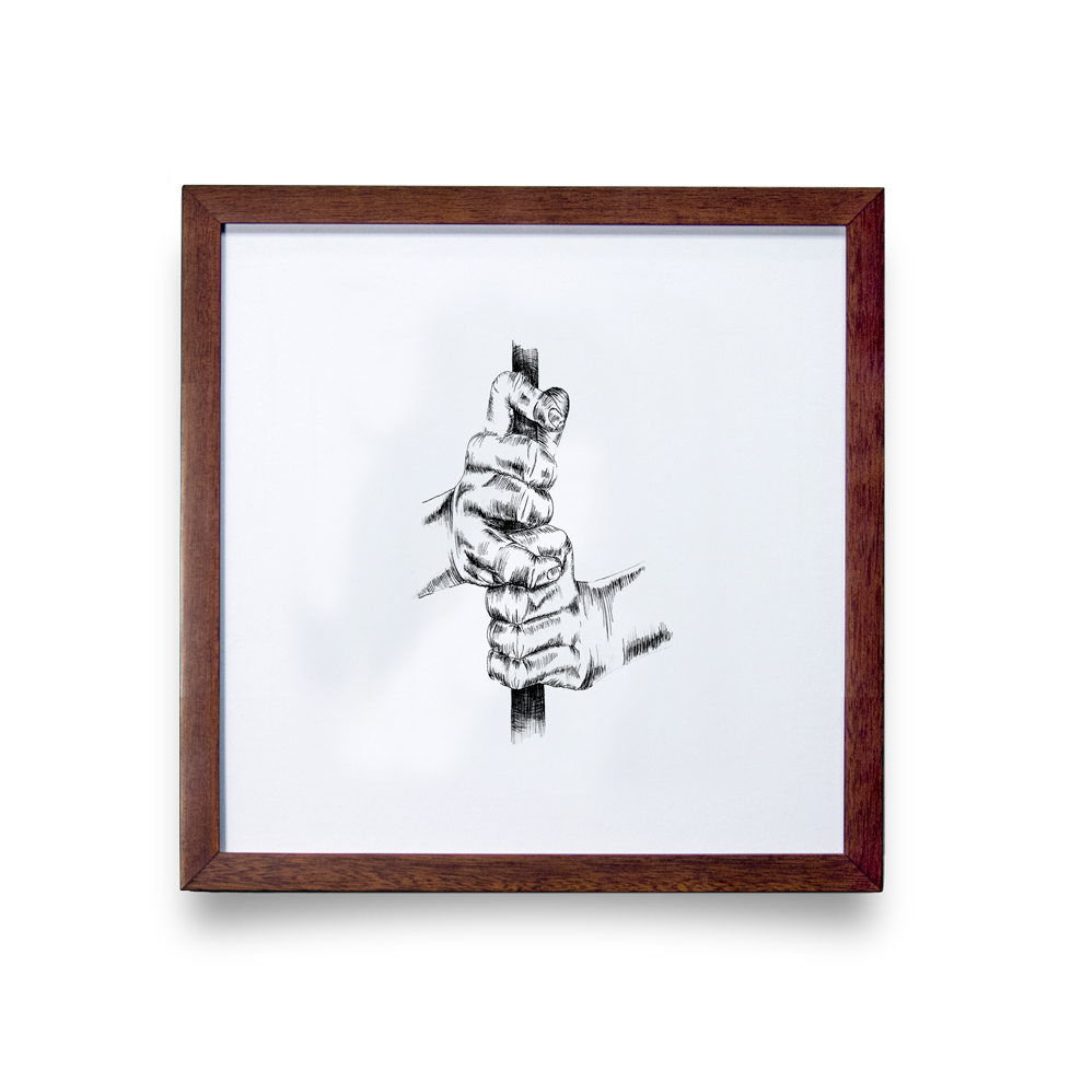 Golf Art - Overlap Giclée Print (Walnut Wood Frame)