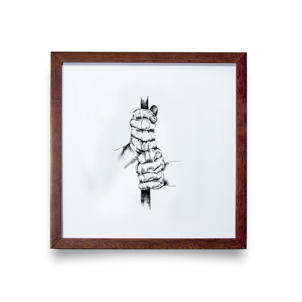 Golf Art - Ten Finger Giclée Print (Walnut Wood Frame)