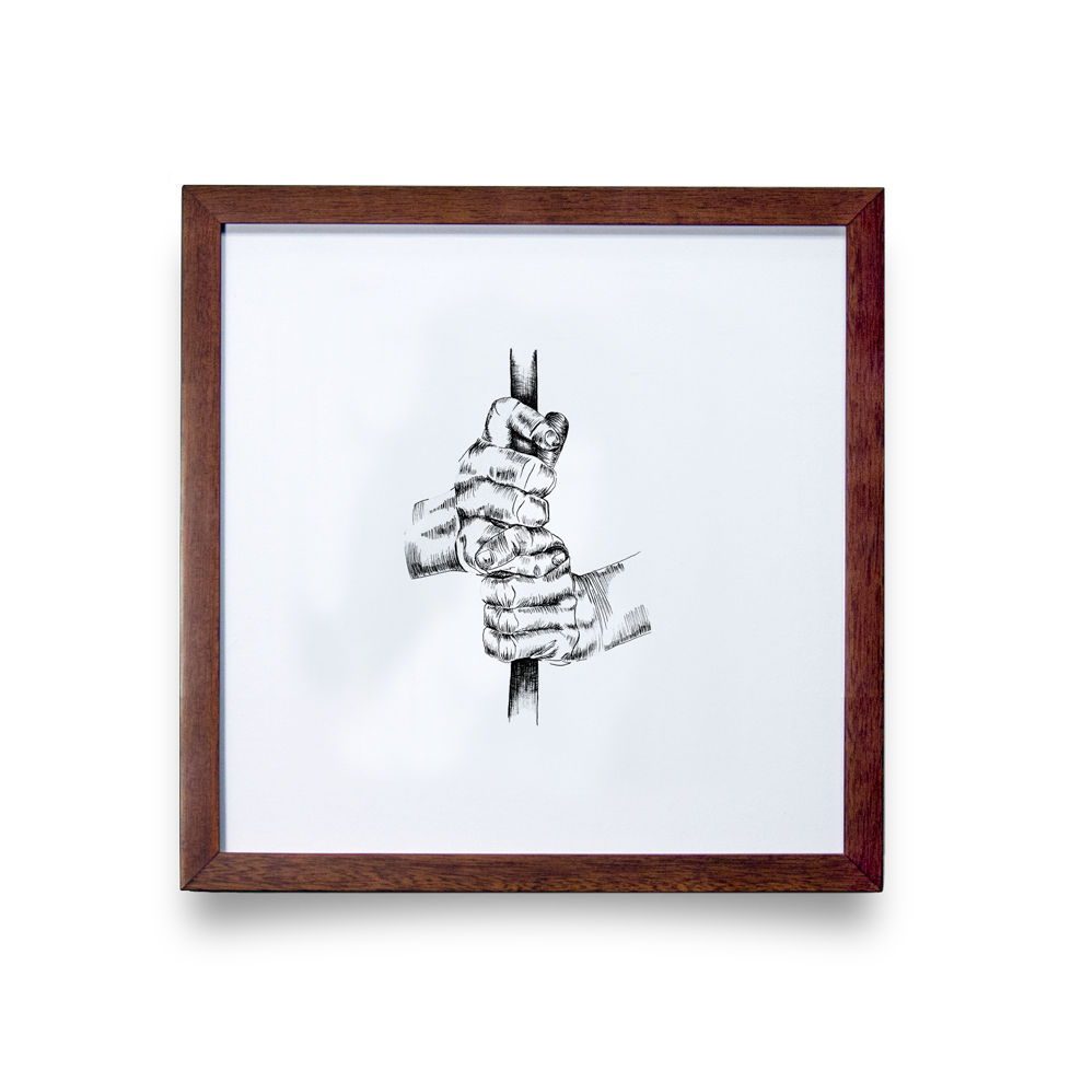 Golf Art - Interlock Giclée Print (Walnut Wood Frame)