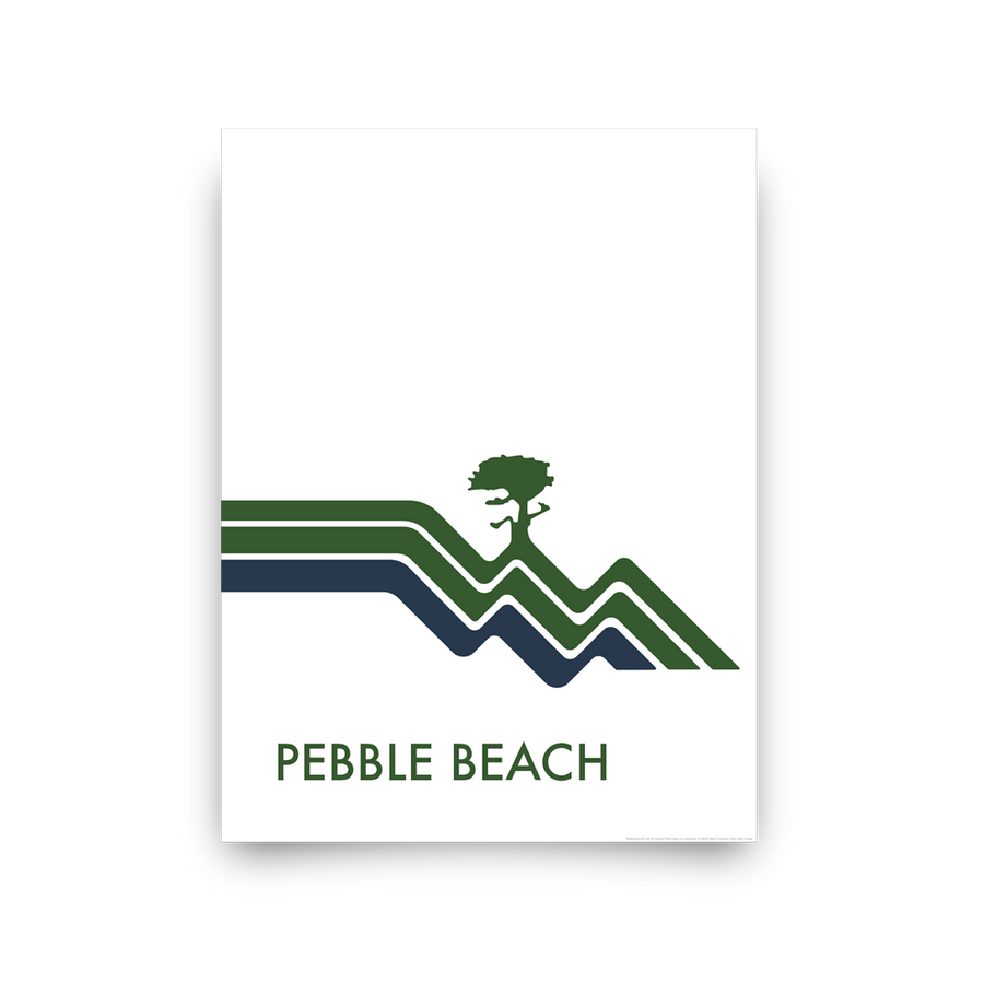 Golf Art - Pebble Beach Waves White Giclée Print (No Frame)