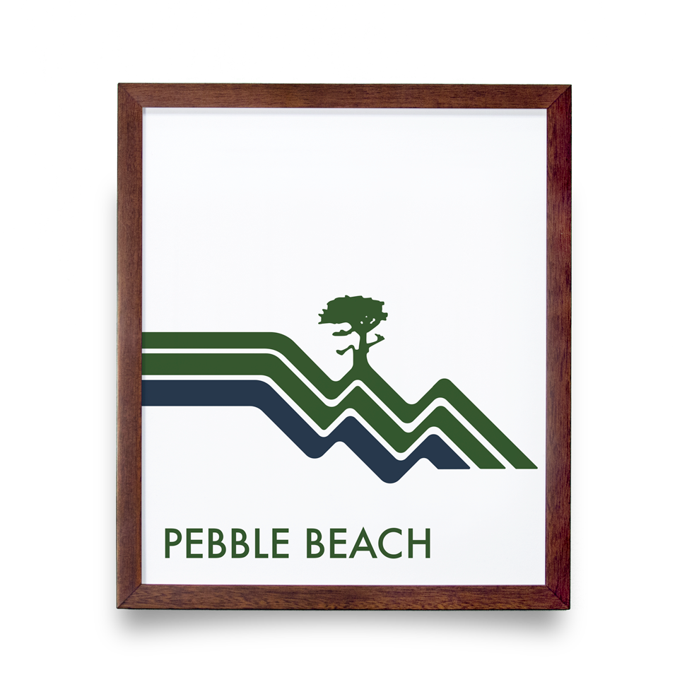 Golf Art - Pebble Beach Waves White Giclée Print (Walnut Wood Frame)