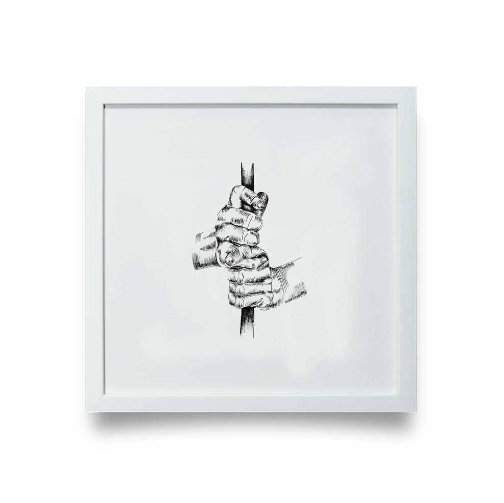 Golf Art - Interlock Giclée Print (White Wood Frame)