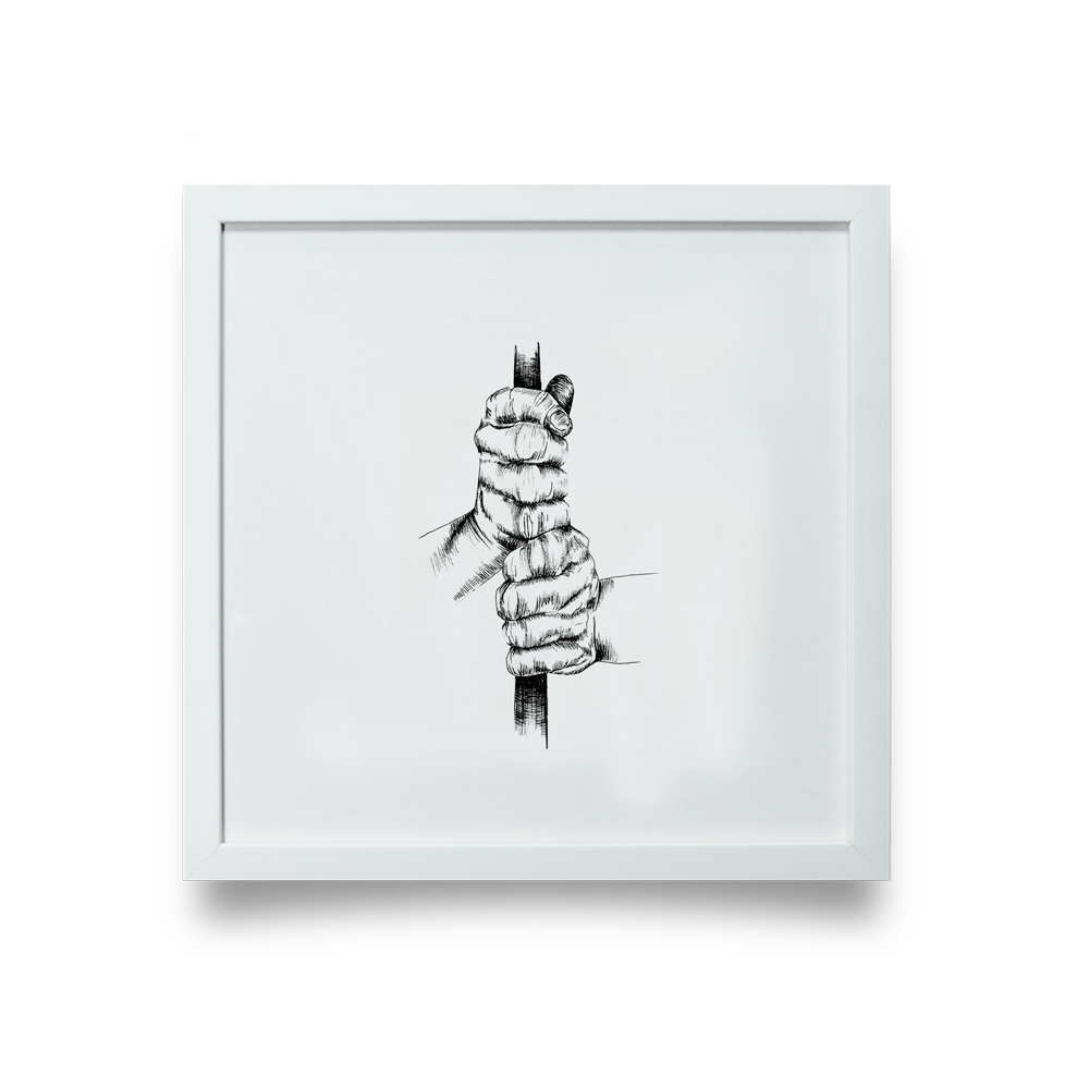 Golf Art - Ten Finger Giclée Print (White Wood Frame)