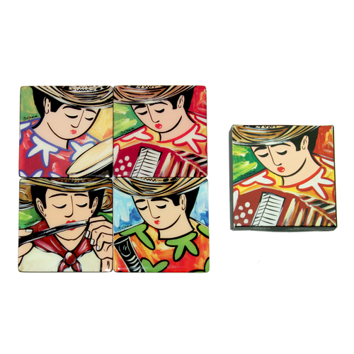 Typical Colombia´s musician inspired coaster set available online