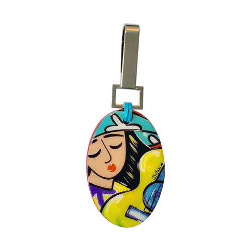 Bojanini - Oval Keychain - Girl with guitar