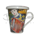 Painted artistic Coffee mugs with lid accordionist design buy online