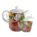 Sugar Bowl with Lid and teapot with Accordionist Design - Available Online