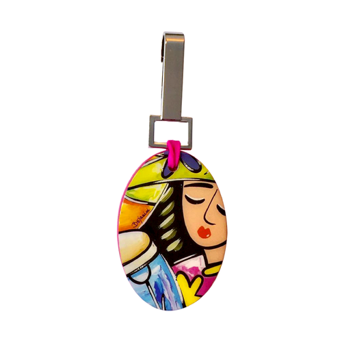 Bojanini - Oval Keychain - Girl with conga