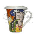 Saxophonist illustration on Cool Coffee mug with lid in ceramic by bojanini