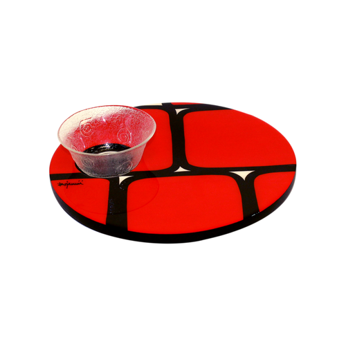 Bojanini - Round Tray with Bowl - Red Squares (Unique Piece)