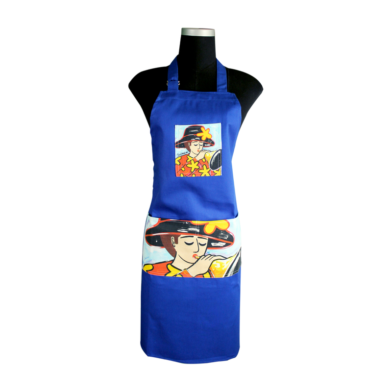 Blue Artistic Apron for cooking ideal for men and women